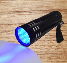 Black UV Ultra Violet 9 LED Inspection Flashlight Blacklight Torch Light Lamp