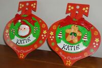 """Pre-Personalised Name """"KATIE"""" Christmas Wreath Tree Hanging Decoration Gift"""