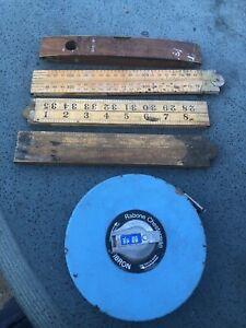 "Vintage Rabone & Chesterman, Spirit Level, 3 Wooden 36"" Folding Rulers, 66' Tape"