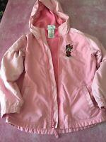 Girls Disneyland Minnie Mouse Pink Hood Nylon Lined Jacket Size M Disney Mickey