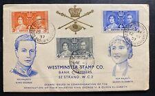 1937 Belize British Honduras King George VI Coronation FDC First Day Cover KGVI