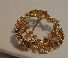 Vintage Brooch Amber Rhinestones Goldtone Beautiful