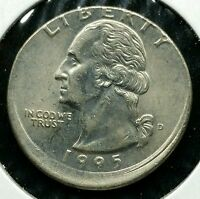 1995 D QUARTER 25C BROADSTRUCK OFF CENTER ERROR RARE UNC BU BRILLIANT E118