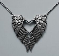 Chain Necklace #431 Pewter ANGEL FEATHER WINGS & HEART (48mm x 43mm) SILVER