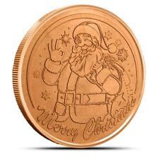 Santa Claus 1 oz .999 Copper BU Round USA Christmas Season St. Nick Bullion Coin