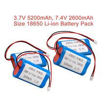 3.7V 5200mAH, 7.4V 2600mAh 18650 Battery Pack Li-ion XRD Rechargeable Batteries