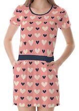 Pink Heart Pattern Women T-Shirt Tee Top Dress With Pockets