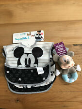 Mickey Mouse Black and White 3 Pack Bib Set With Soft Rattle
