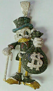 3.50 Ct Multi-Colored Sim Diamond McDuck Pendant 14K  Yellow Gold Plated Silver