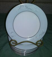 "10 Vtg Noritake 6029 Cathay 6.25"" Bread Plates Blue Band White Gray Pine Branch"