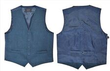 Mens Wool Blend TWEED Check Waistcoat Blue With Contrast Back NEW Vest XXL
