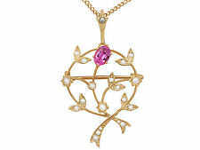 Pink Corundum and Pearl, 9 ct Yellow Gold Pendant / Brooch - Art Nouveau Style