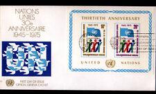 """ENVELOPPE Timbrée BLOC """"NATIONS UNIES"""" Oblitération postale NEW YORK en 1975"""