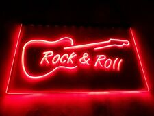LED Sign Neon Light Rock n Roll Red Guitar Design Art Picture Rock And Roll UK