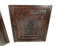 Pair Antique French hand Carved Oak Fish  Door Panels Reclaimed Architectural