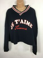 """WOMENS PRIMARK NAVY BLUE RED WHITE """"JE TAIME"""" LOGO CROPPED JERSEY JUMPER SIZE M"""