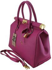Chicca Borse borsa donna elegante bag donna pelle manici tracolla fucsia 8005