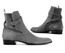 Men's Handmade Black Jodhpurs Boots, Gray Buckle Suede Ankle Boots for Men