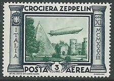 1933 REGNO POSTA AEREA ZEPPELIN 3 LIRE LUSSO MNH ** - IT
