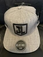 BRAND NEW: DC Justice League Grey Embroidered Snapback Adjustable Hat - Stylish