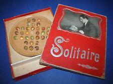 antikes Solitaire Murmelspiel mit 32 handgemachten Lauscha Murmeln um 1920