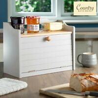 Country Kitchen Large Wooden Bread Bin Box Grey Food Storage with Gallery Shelf