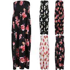 Plus Size Women Ladies Sheering Floral Rose Bandeau Straples Neckline Maxi Dress