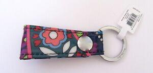 Vera Bradley Haymarket Paisley Loop Key Ring- black blue pink silver ring