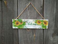 Sunflower wood sign Welcome Rustic Yellow Home Decor Handmade Decoupage