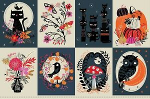 Dashwood Full Moon Panel Quilting Panel Halloween Pumpkins Cats Owls