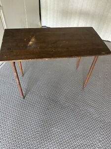 Vintage Antique Sewing Wood Stand Folding Table With Measurement Engraved