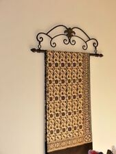 Antique FRENCH style tapestry holder frame wrought iron large 2 RODS