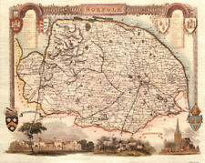 Map of Middlesex Thomas Moule Map 19th Century Repro Middlesex Map