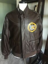 NYSP A-2 Willis Geiger Leather Flight Bomber Jacket Air Force Army A2 46 XL 💎