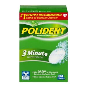 Polident 3-Minute Denture Cleanser Tablets Antibacterial 84 Count