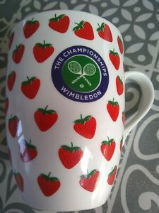 The Championships Wimbledon Tennis Mug Strawberries Logo Tennis Rackets