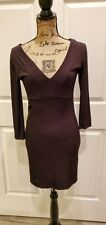 Forever 21 Black Knit Metallic Evening V-Neck Lined Long Sleeve Dress Large