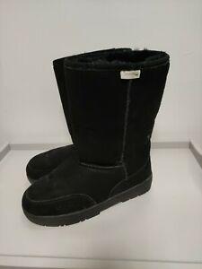 BEARPAW boots, UK8 EU41, Black, Suede, sheepskin lining, used in vgc