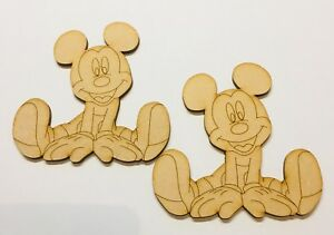 Mickey Mouse x 2 Size 90mm x 90mm Mdf 3mm Craft Blank Decoration Laser Cut