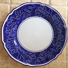 """DERUTA OF ITALY Jilly Walsh Charger/Large Round Serving 13"""" Blue  hand painted"""