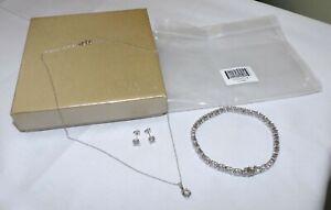 JTV Bella Luce 44.80ctw Diamond Simulant Bracelet, Earrings, & Necklace Set NEW