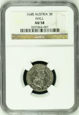 Austria 1648 Silver Coin 3 Kreuzer Archduke Ferdinand Charles Hall NGC AU58