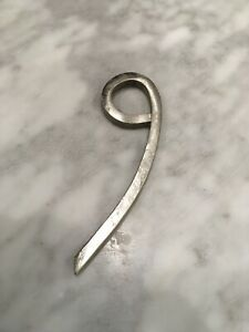 """Hand Forged Iron Numbers Number """"9"""" Silver."""