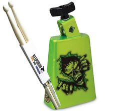 LP Latin Percussion LP204C Zombie Green Cowbell+ KEEPDRUM Sticks