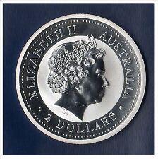 MONETA 2001 AUSTRALIA ANNO DEL SERPENTE IN ARGENTO PURO 2 ONCE ELIZABETH II