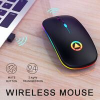 A2 Slim Wireless Mouse Silent USB Mice 2.4GHz Rechargeable RGB For PC Laptop