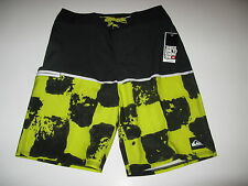 Quiksilver Boys 29 Young Guns Surf Swim Board Shorts Black Yellow Youth NWT