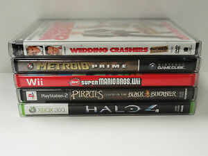 25 Box Protectors For DVD's, Wii U, XBOX, PS2, NINTENDO GAMECUBE ETC. Clear Case