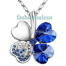 "19"" Lucky Blue Crystal Four Leaf Clover Pendant Alloy Women's Chain Necklace"