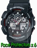 """CASIO GA100-1A G-Shock Glass Display Face Protectors  x 6 """"NO MORE SCRATCHES"""""""
